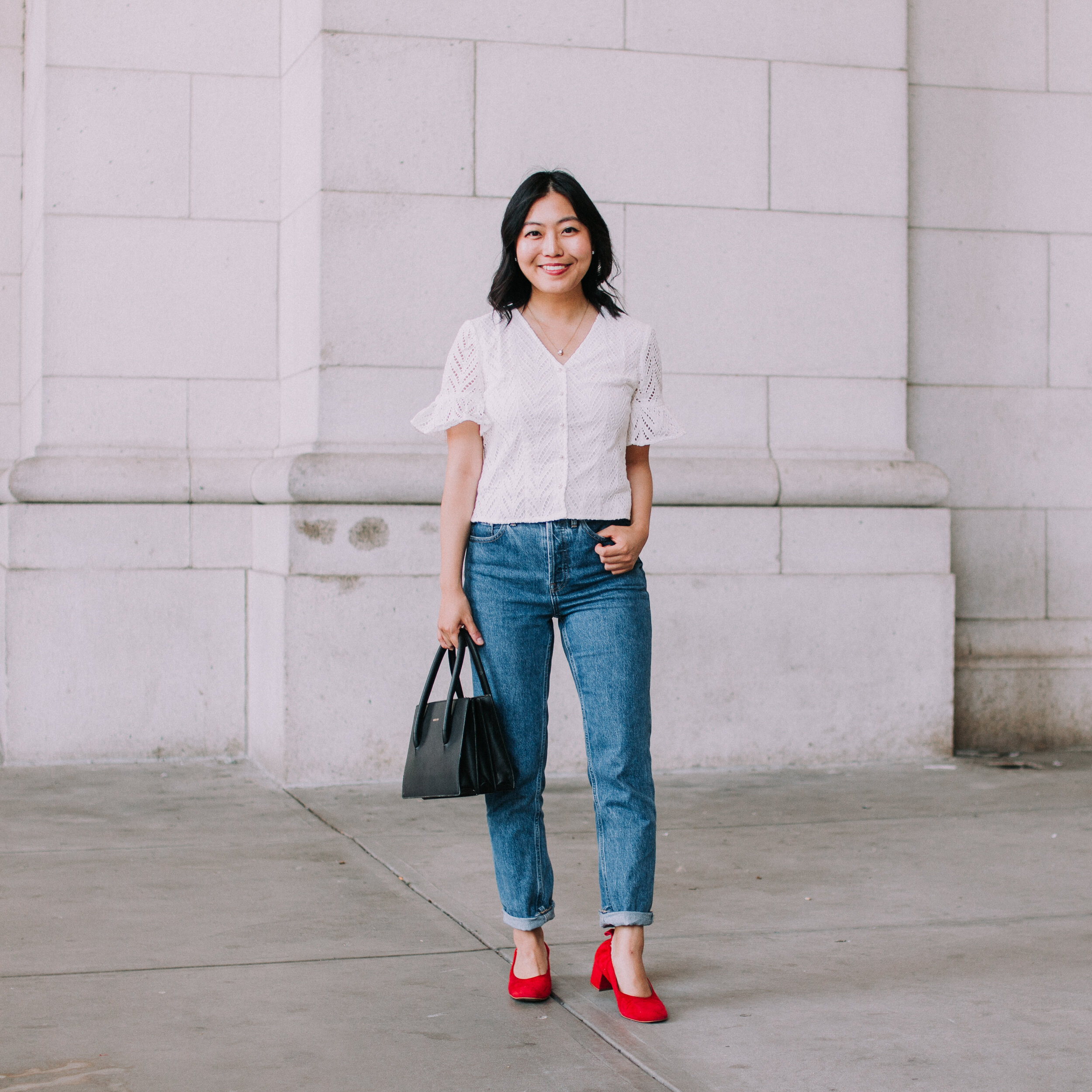 JNSQ Paola Blouse, Everlane 90s Cheeky straight jeans, Angela Roi Eleanor bag, Everlane red suede Day Heels