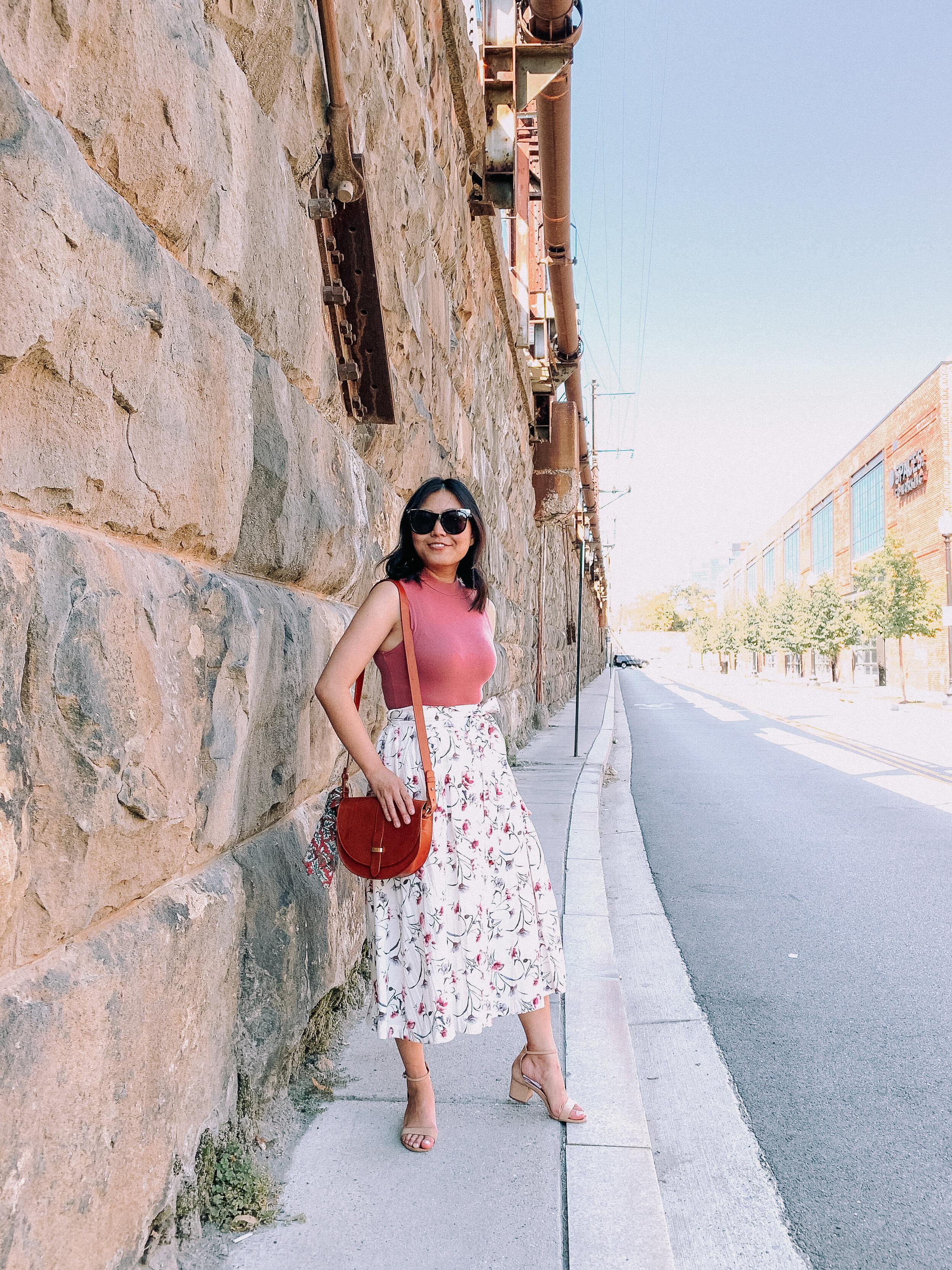 Floral Skirt and Mockneck Bodysuit
