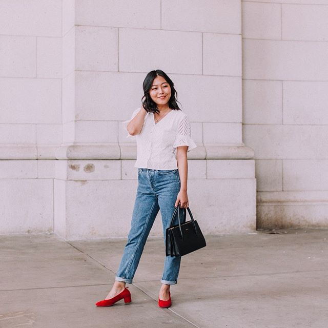 Can't stop wearing mom jeans and I won't stop! . . How pretty is this eyelet blouse from @jnsqofficial? I tend to wear a lot of basics in neutral colors so I use the details to elevate my outfits. I love the pearl buttons, the feminist l feminine ruffles and the delicate eyelet! . . . . . . . . #aboutalook #Blogged #dailylook #dcblogger #dcfashion #dcstyle #fashionblogger #igers #Instagramers #instagood #igstyle #instadaily #ontheblog #ootd #outfit #outfitoftheday #styleblog #wiw #wiwt #whatiwore #whatiworetoday #slowfashion