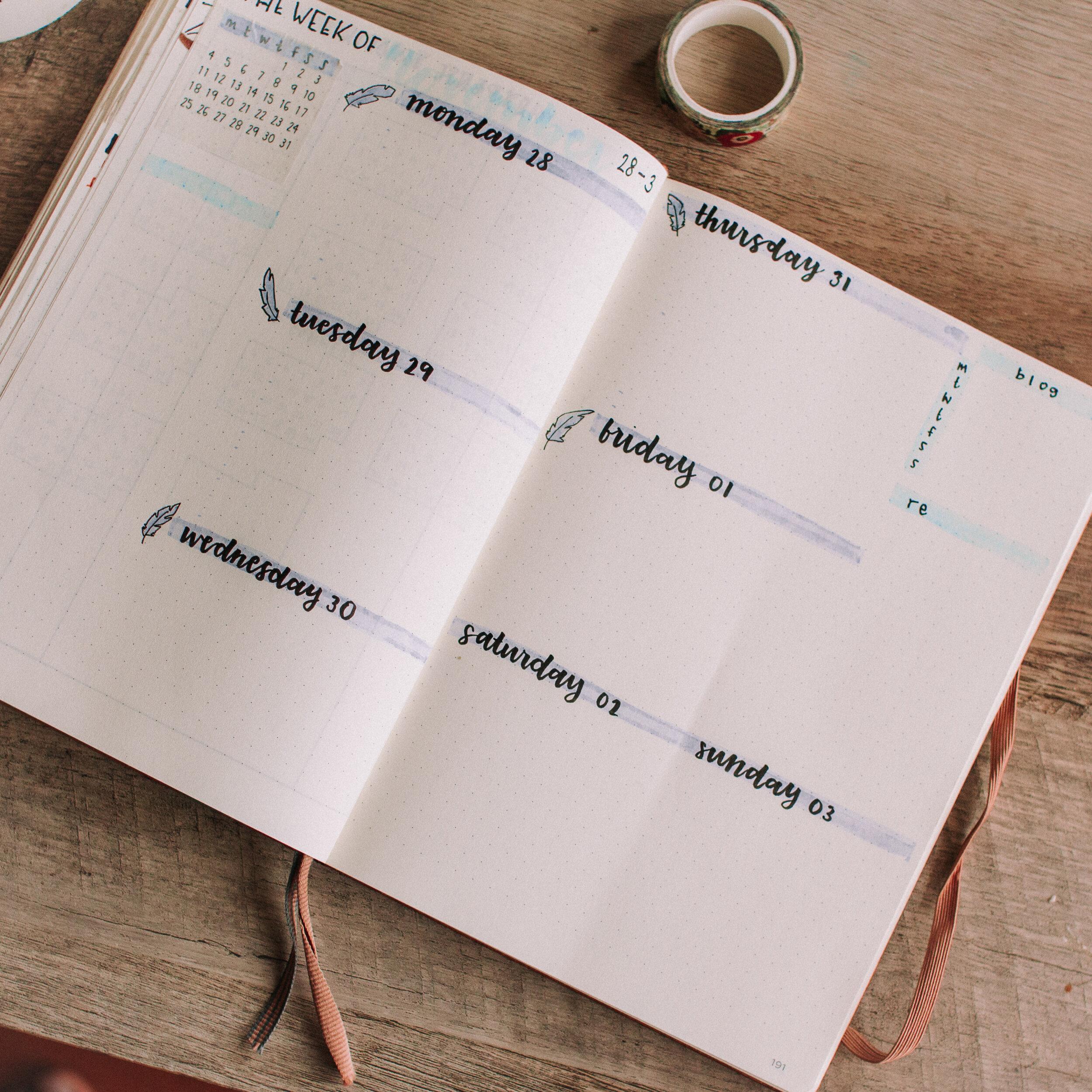 November Bullet Journal Dreamcatcher theme
