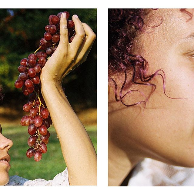 @virtualcheese as Purple for my color and episodic memory series, hoping to make a zine of this soon with correlating writings. It also gives me a reason to shoot everyone I love in their favorite color while offering them fruits 🍇 . This is film 🎞, now zoom into those water droplets 💦 . . #grapes #purple #curls #purplecurls #oakland #portrait #offerings #blessed #35mm #colorfilm
