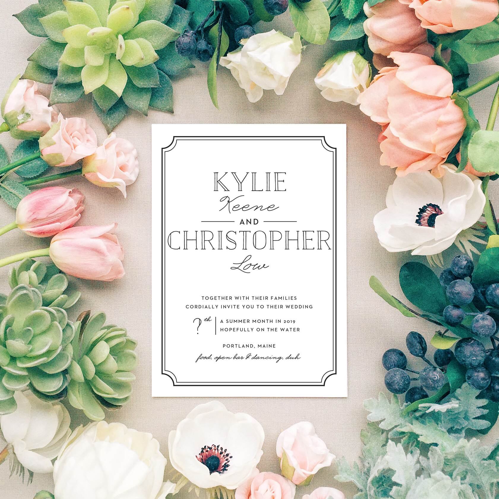 Basic Invite provided some lovely stock images of their invites and I had some fun with their online wedding invitation creator to customize the look. This is the  Type Frame Portrait  design.