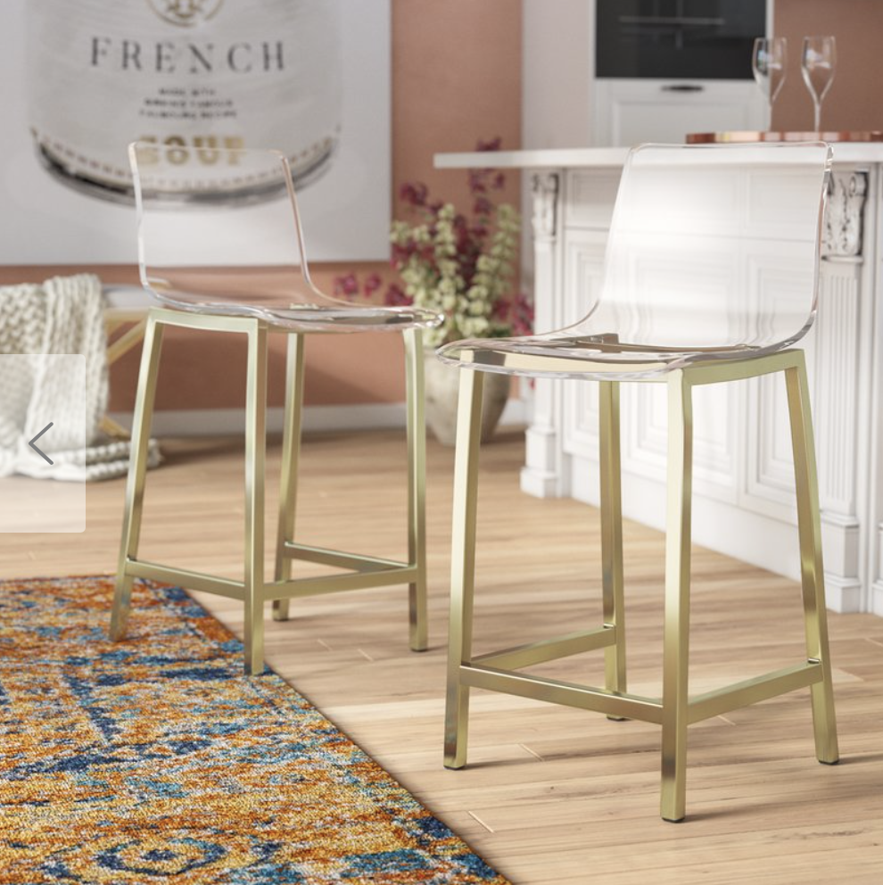 acrylic and gold bar stools