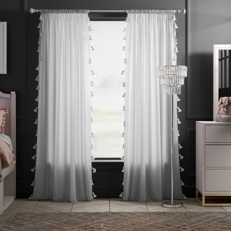white tassel curtains