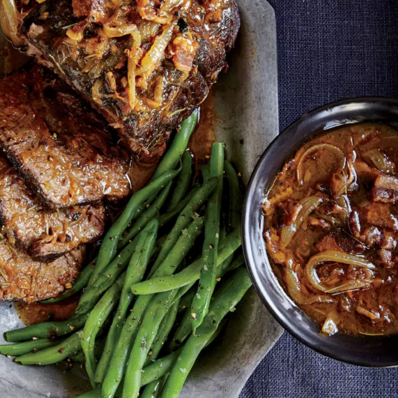 Beer-Braised Top Blade Roast - Beer and beef? Yes please! Nothing says Thanksgiving like a hearty blade roast slow-cooked to perfection. This is no ordinary roast. It simmers in beer, yielding a delicious sauce. To elevate the dish further, pair with small carrots with tops and pearl onions.Get the Recipe