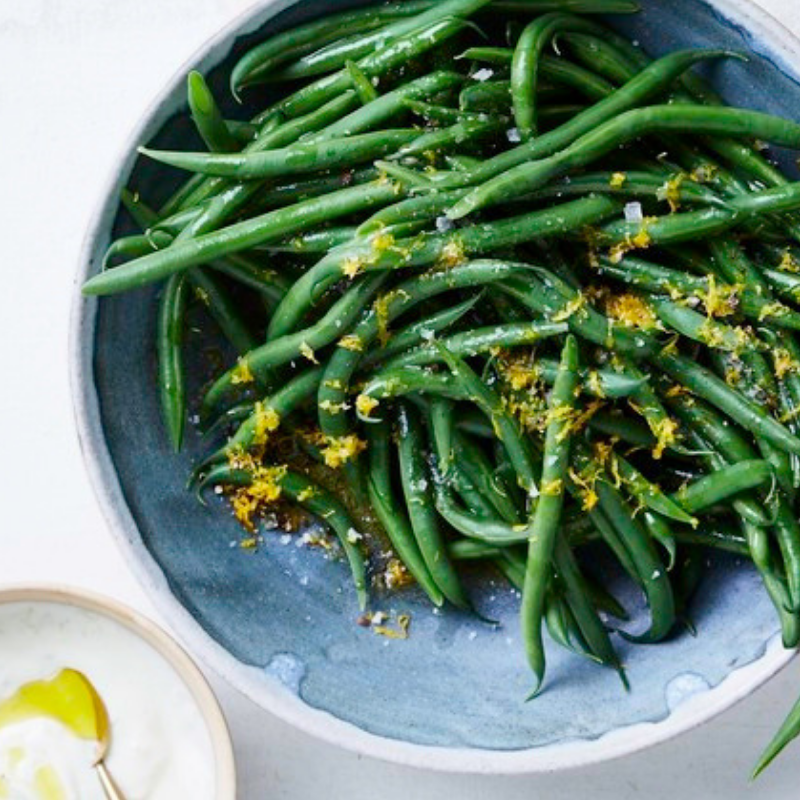 Lemon Pepper Green Beans - These brightly flavoured beans can be served warm or cold as a salad. With minty yogurt sauce on the side for dipping, they make a delicious, modern replacement for your traditional green bean casserole.Get the recipe>>