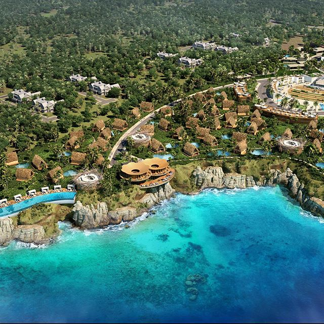 An aerial of an oceanfront Luxury CBD Resort in Jamaica. NYAR designed each of the unique structures & landscape within the resort, as well as providing the Marketing team with all of the high end visualization to take the concept to Market. #realestatemarketing #marketing #luxurymarketing
