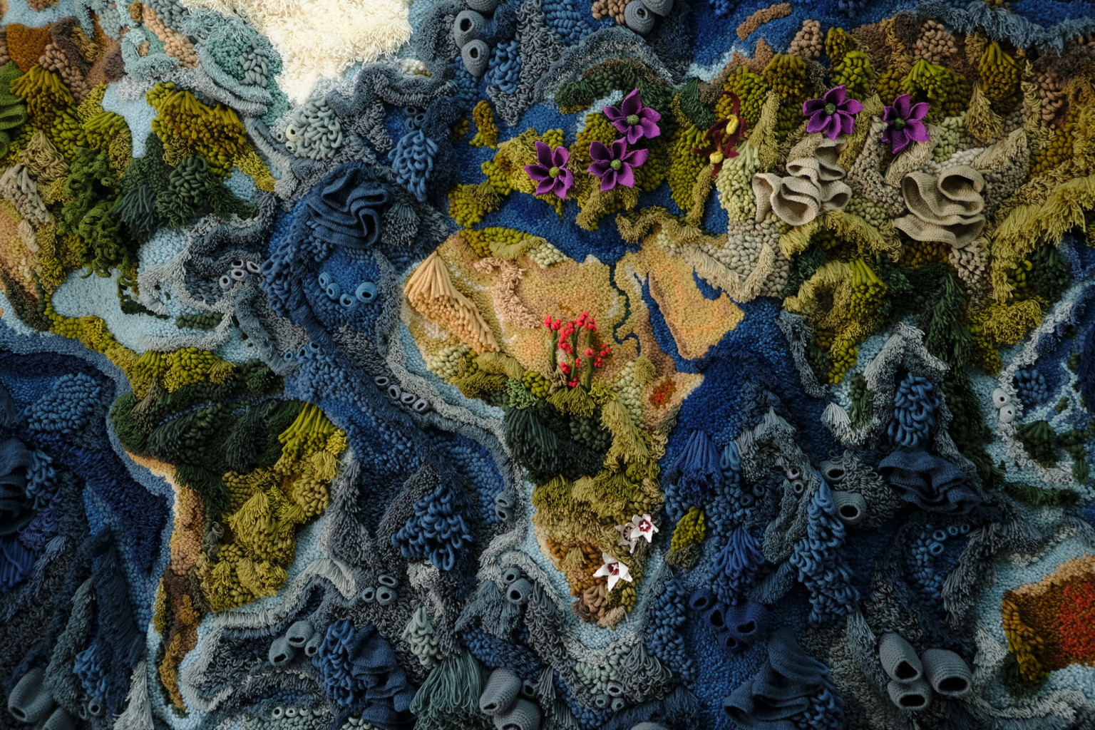 20 foot-wide Tapestry by Vanessa Barragão recreates the world in textural yarn
