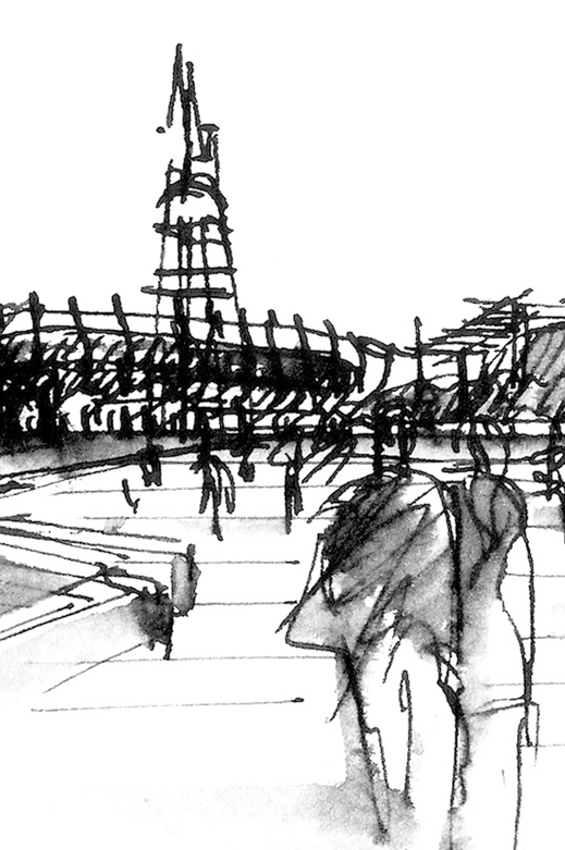 Pier 70 Embarcadero San Francisco Pen and Ink Illustration