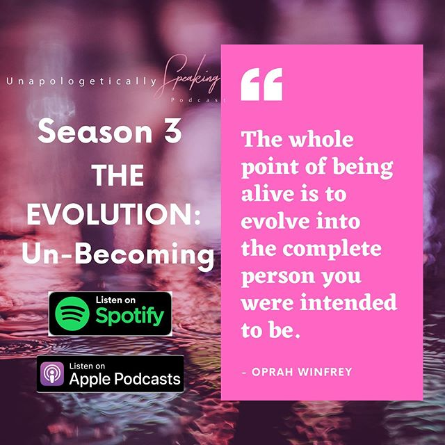 "We're kicking off Season 3 of  Unapologetically Speaking! Check it out on your way to work this AM! It'll be a great way to start your work week...we promise 💕 ****************************** Being an evolving woman is multi-faceted, convoluted work…am I right, ladies? In other words, there are phases we go through in order to become, and one of these phases is the process of un-becoming. People evolve, so this process isn't unique to women, however, the hurdles that women must overcome to become are, and co-host, Elisha Hill, is here to say, ""The struggle is REAL!"" In this week's chat, Elisha shares some insight about this process and what it means to her to un-become."