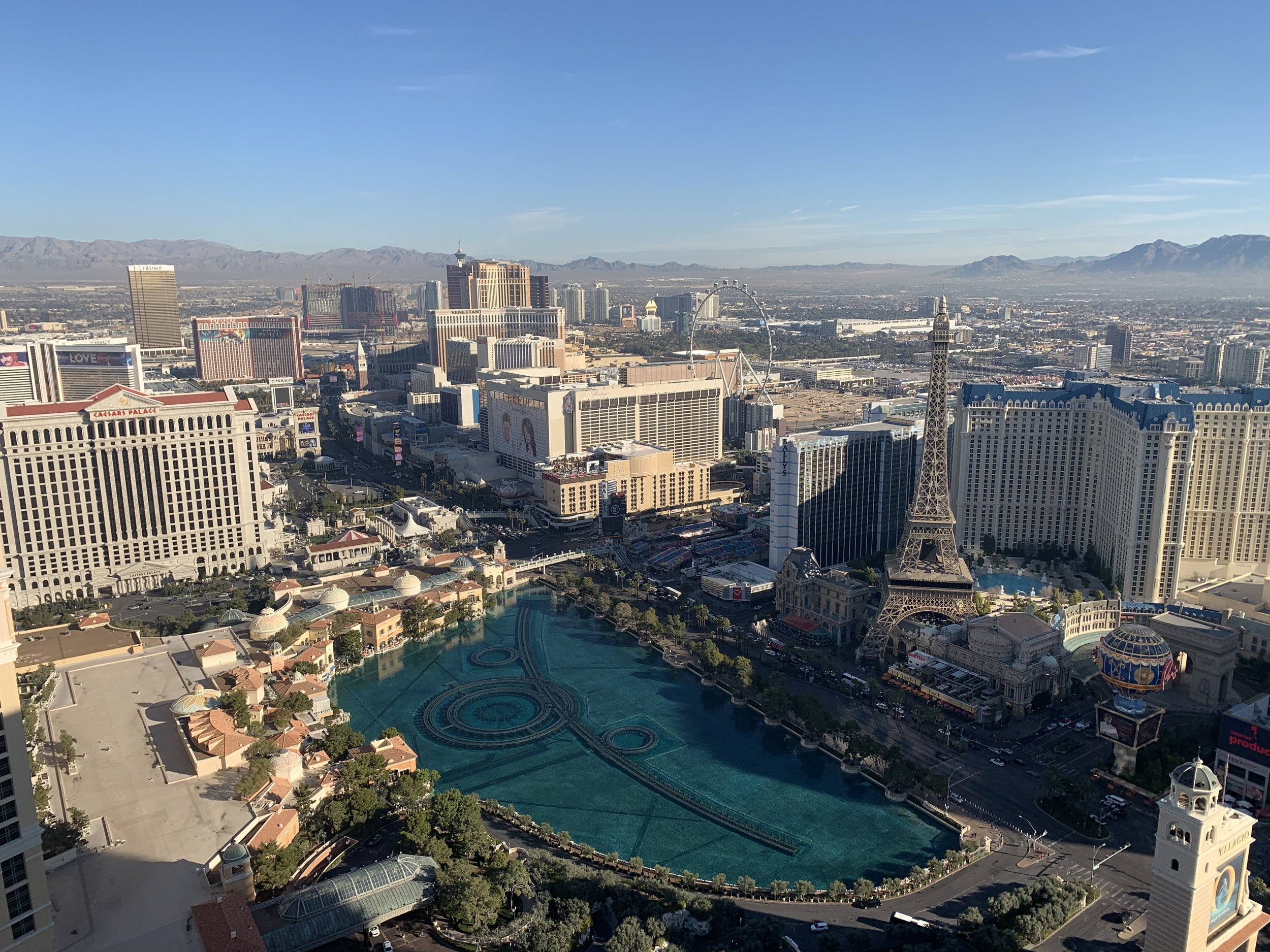 View from a meeting on a high floor of the Cosmopolitan Hotel. Lots of POIs!