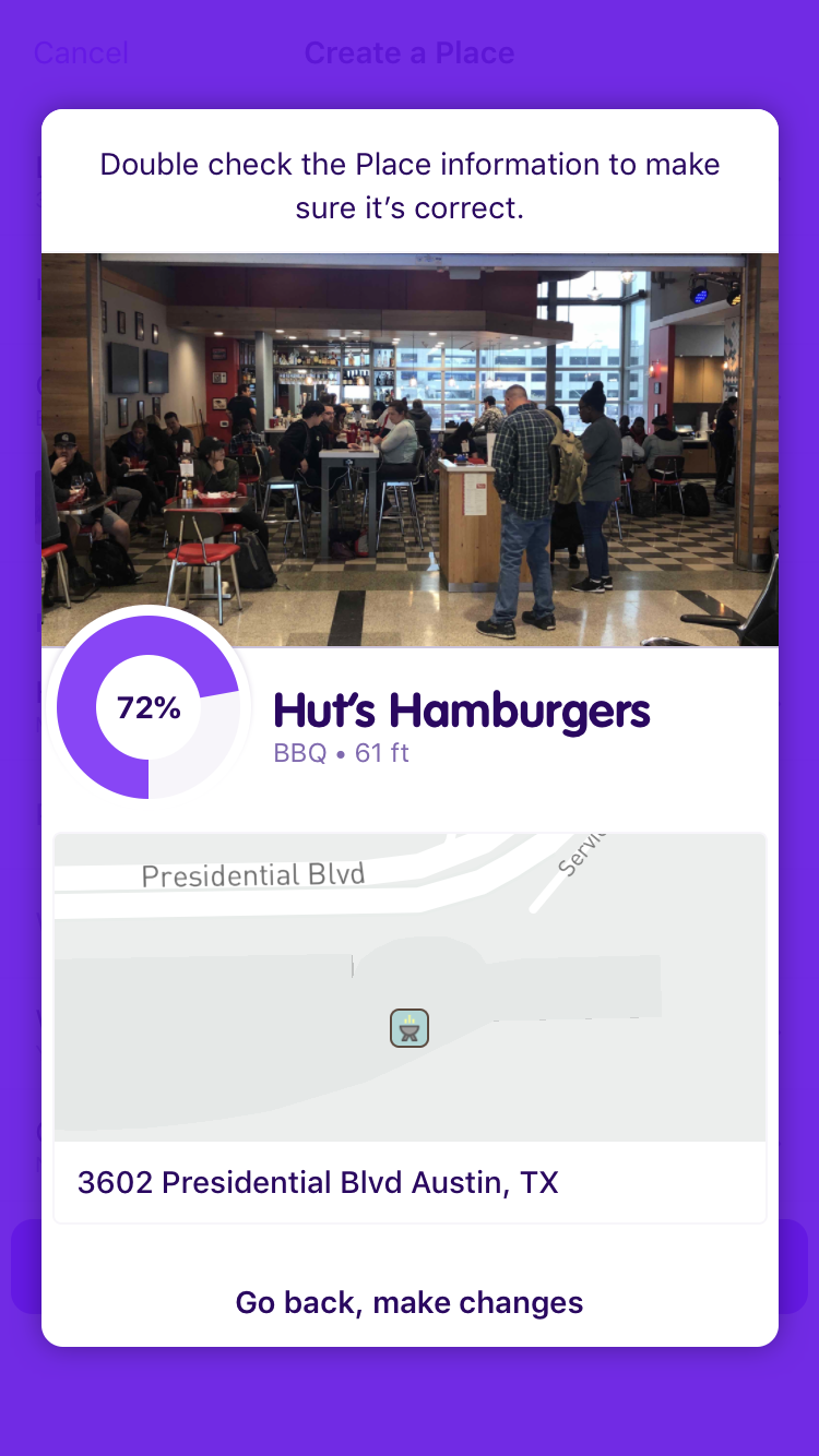 Adding a place in Streetcred's app takes seconds. Here, I added a hamburger joint right after stepping off the plane.