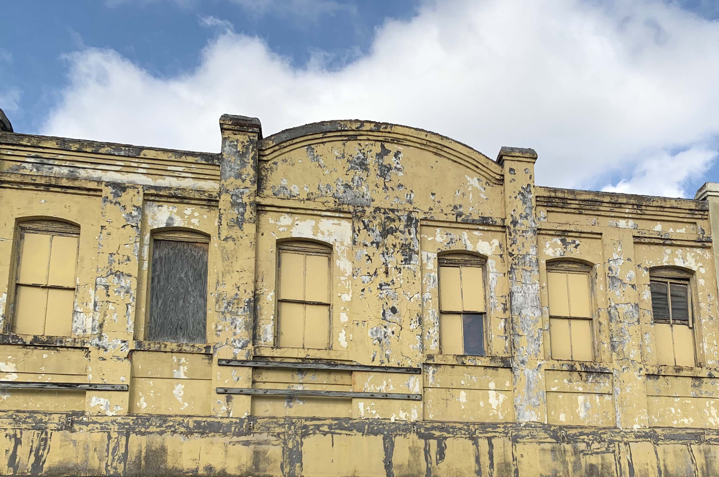 Facade of abandoned building in Jeanerette, Louisiana.
