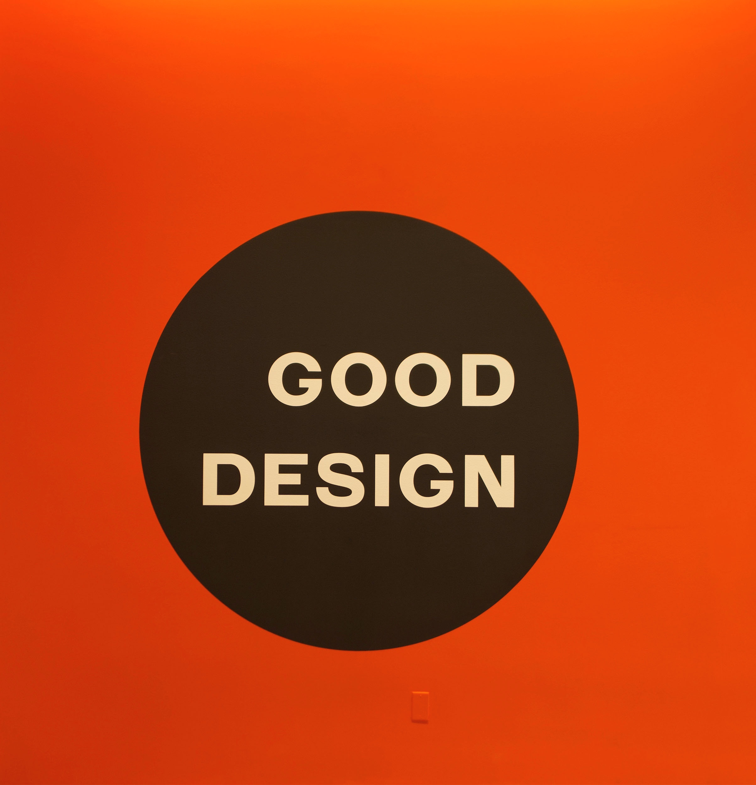 Reproduction of the 'Good Design' logo designed by Morton and Millie Goldsholl Associates in Chicago.