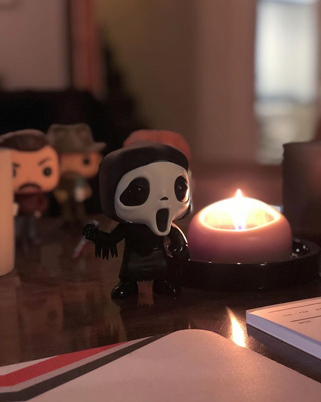 Not gonna lie. I love working with #ghostface @originalfunko and #candlelight while I edit. . . . . #takenoniphonex #apple #scream #horror #videoproduction #homeoffice #illberightback