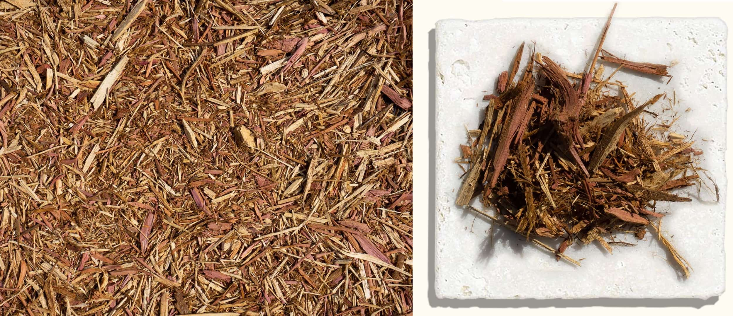 "Aromatic Cedar Mulch $46.99 $48.99 $48.99 - Aromatic Cedar Mulch is colorful, durable, and naturally repellent to insects. It provides an excellent weed barrier and retains moisture in your landscape. It has a long lasting natural color and is a favorite because of it's pleasing ""cedar chest"" aroma."
