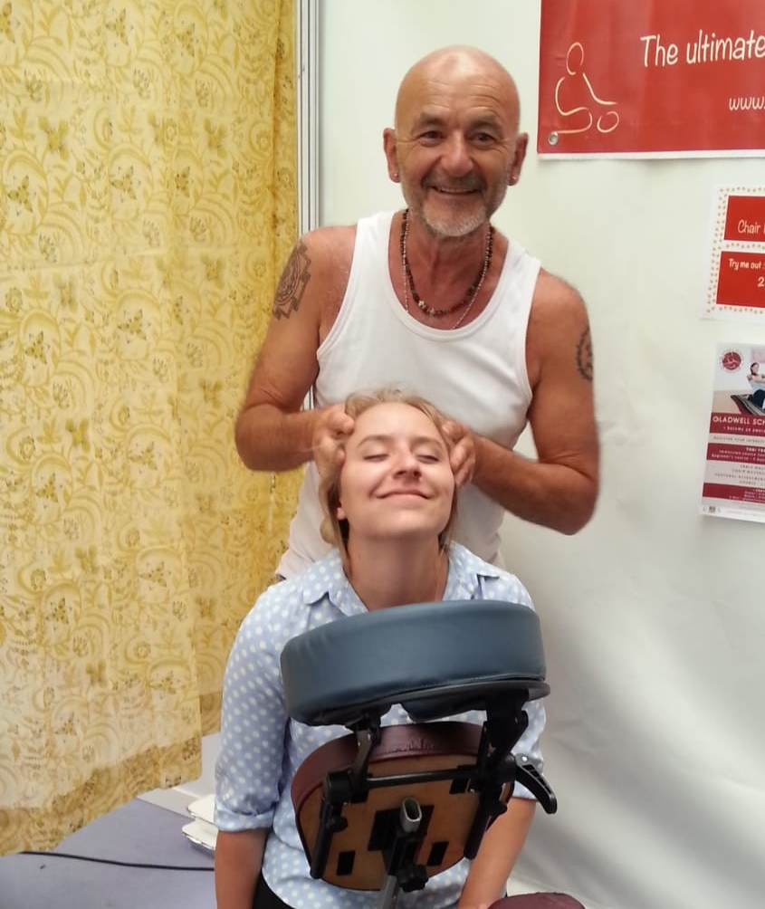 Chair Massage - Learn the best techniques of Chair Massage, many of which are our own.Chair massage is done fully clothed and not much space is needed. It is ideal for shows and outdoor events. If done properly, it is as good as a table massage.Typically a 2 day course for £200.