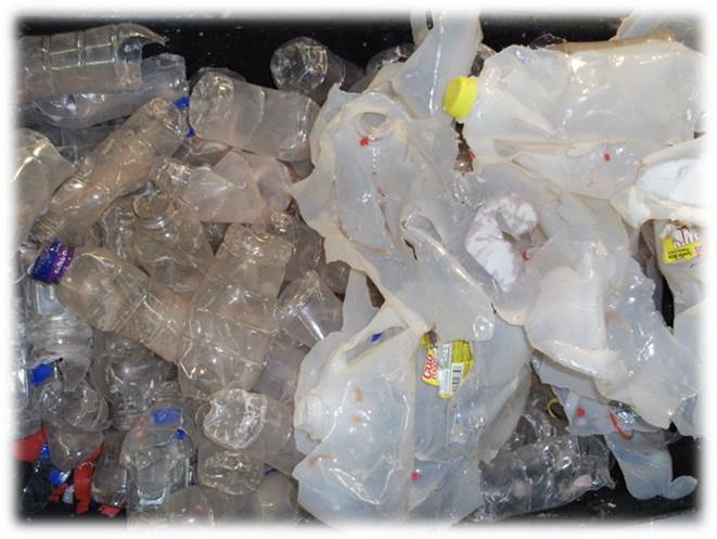 99.9% of liquids removed from PE bottles without shredding