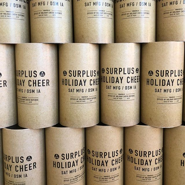 """Happy Holidays from Saturday Mfg.! We hope our Surplus Cheer has helped you banish """"Bah-Humbugs"""" and make spirits bright. See you in 2019! 🎉"""