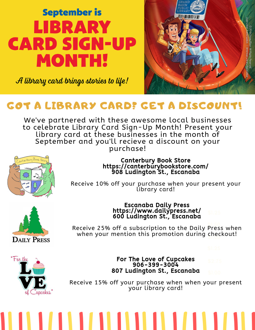 Poster detailing the Escanaba Public Library's promotion with a few local businesses!