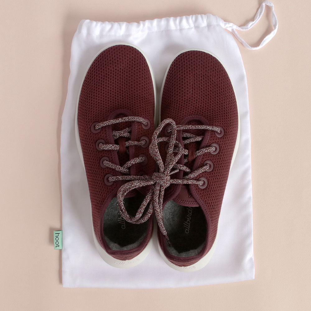 1. - Use as shoe storage to keep your kicks clean until you're ready to show them off. Pictured here are Laura's Allbirds, made from the same Tencel Lyocell that is in our sheets!