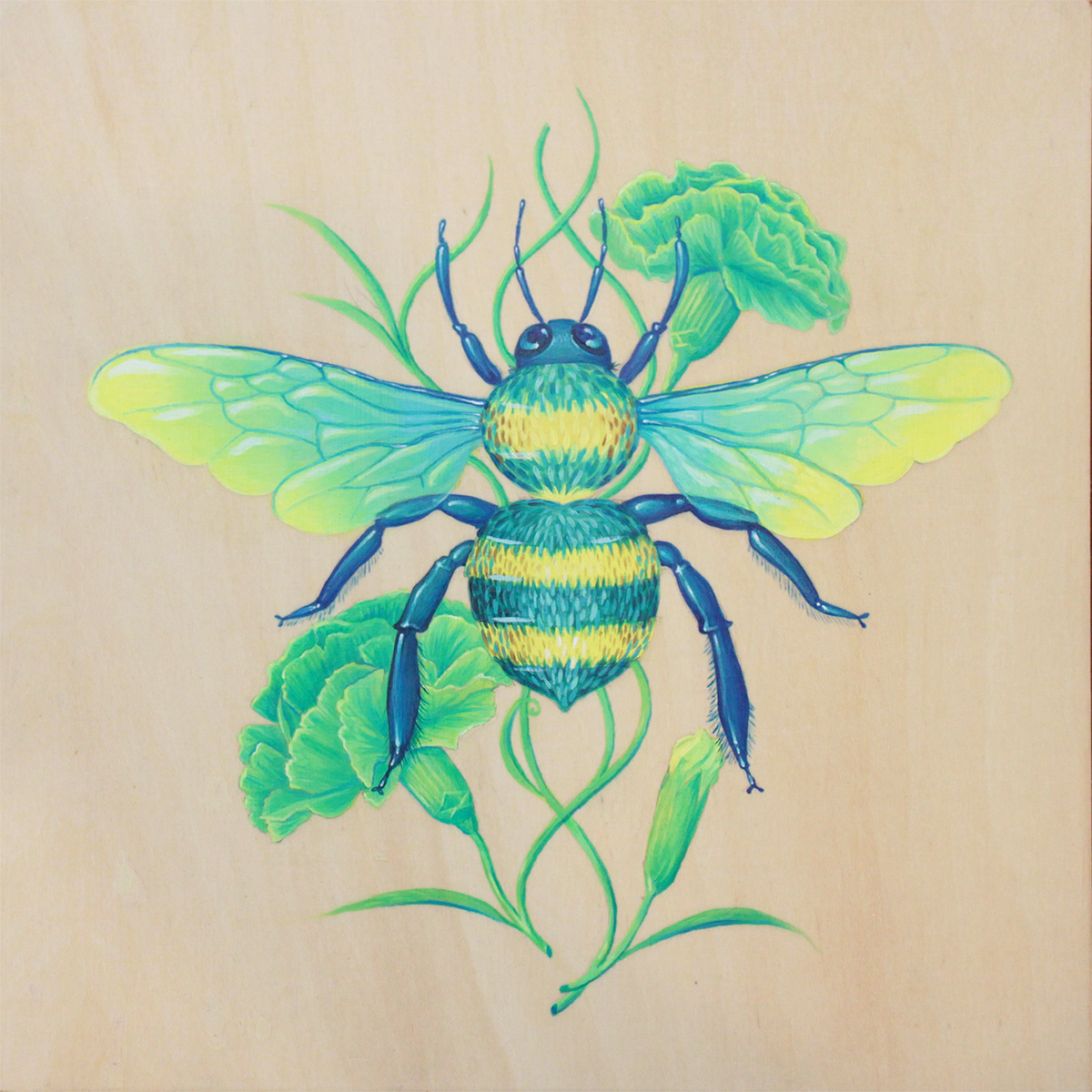 """Uncanny Love"" [Dianthus caryophyllus & Xylocopa virginica], Acrylic on wood panel, 8x8"". 2017."