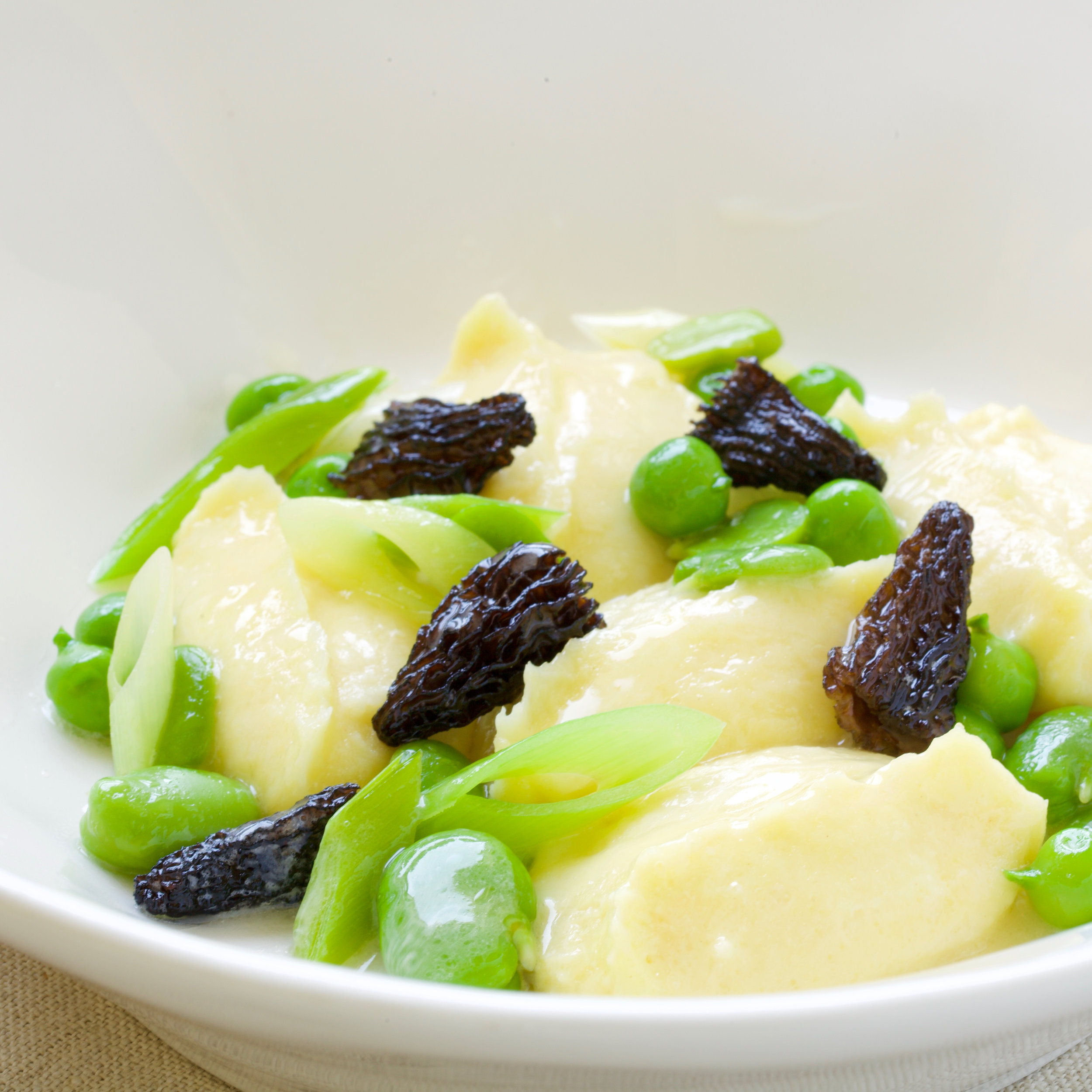 ricotta dumplings, morels, fava beans, leeks