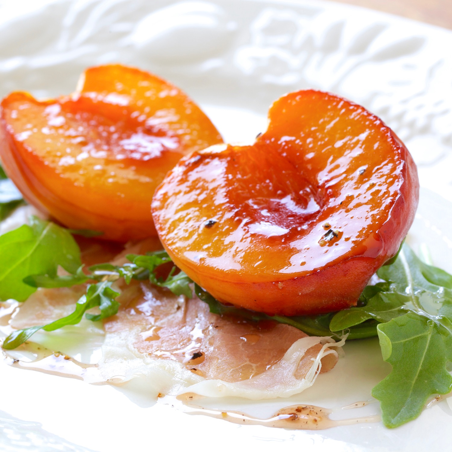 roasted peaches, prosciutto, wild arugula