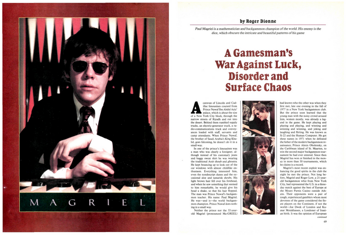 """""""A Gamesman's War Against Luck, Disorder and Surface Chaos,""""  Sports Illustrated  (June 4, 1979)"""