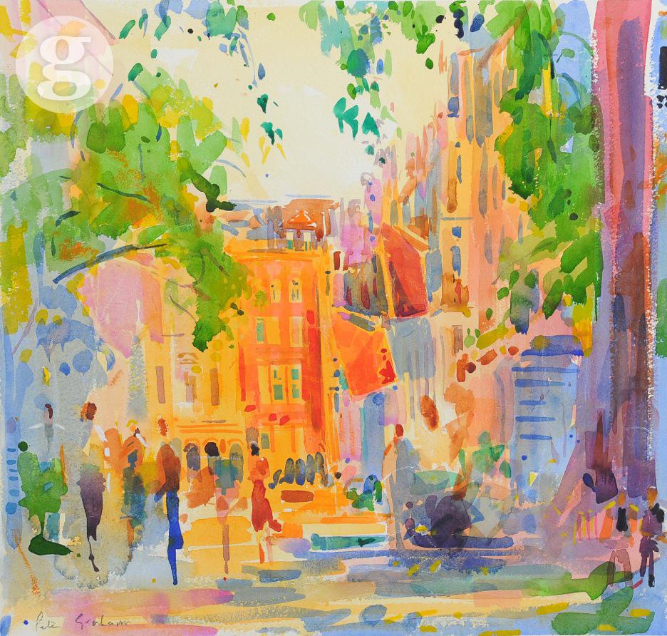 King Street, London 55 x 56cm - watercolour