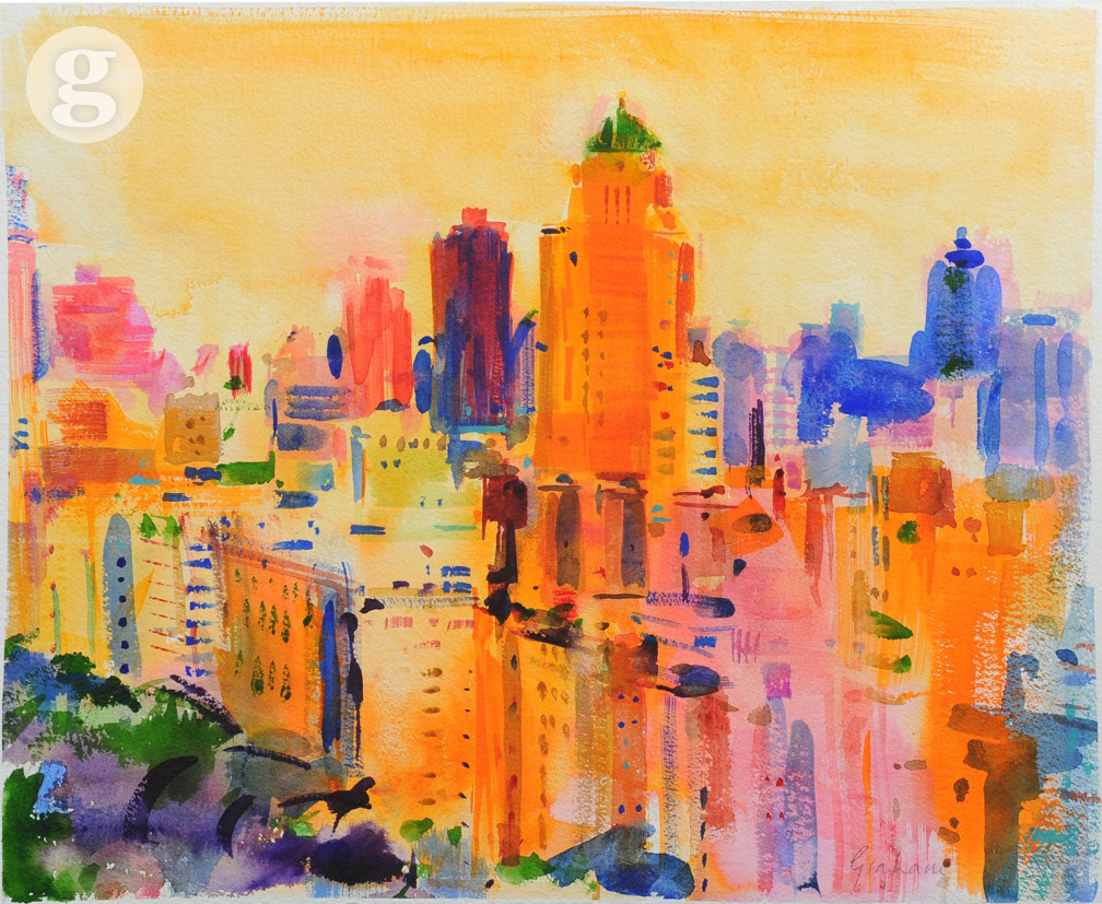 New-York, Upper East Side 53x57cm- watercolour