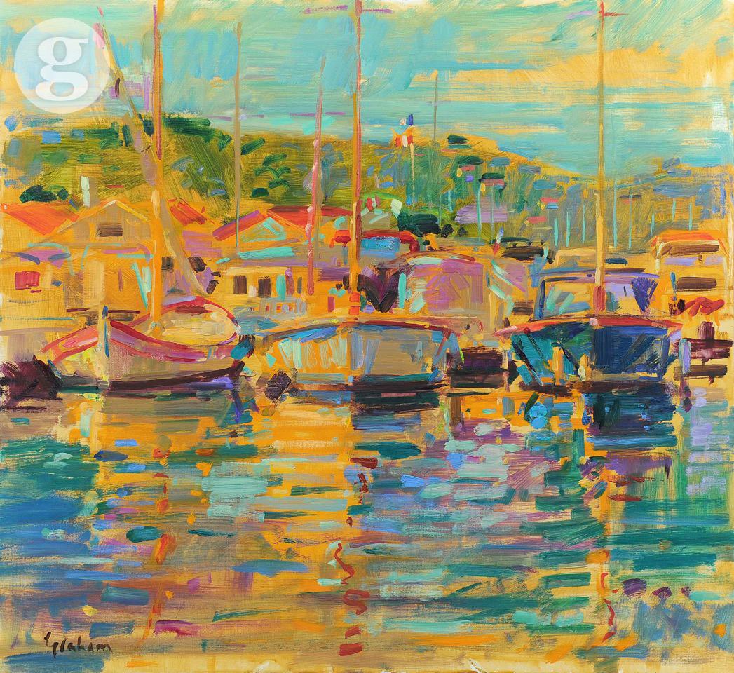 St Tropez Boats 71x76cm - oil