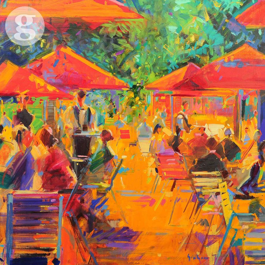 Grand Café du Jardin 91x91cm - oil