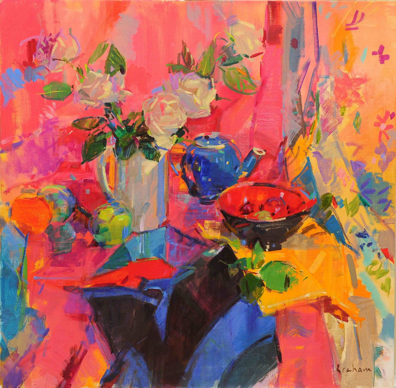 Cassis Roses 86 x 86 cm oil on canvas Peter Graham ROI