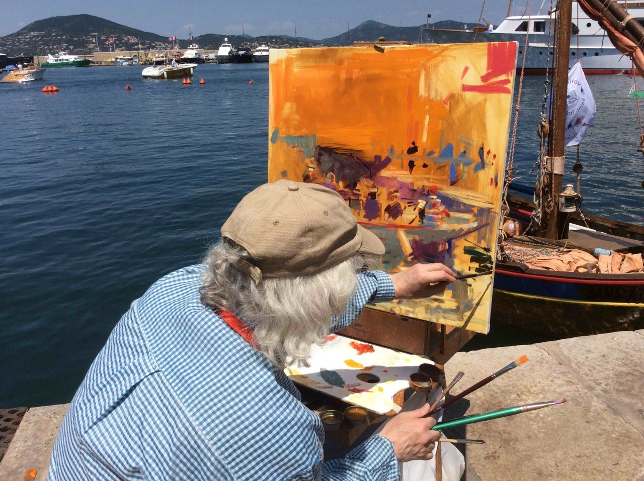Peter Graham painting on The French Riviera