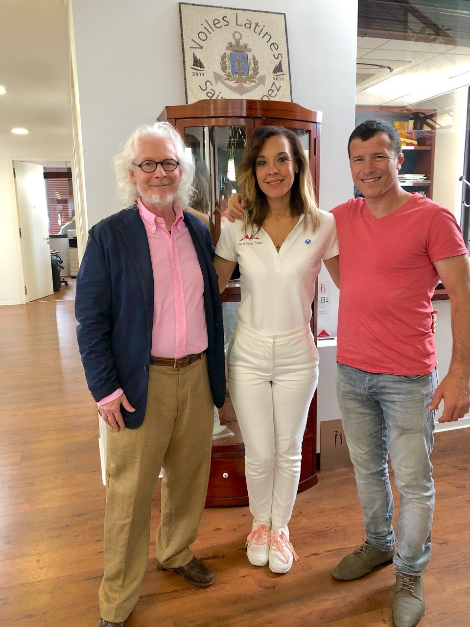 Peter Graham ROI, with Anne-Marie Dandin- Head of Communications at The Port of Saint Tropez and Sebastien Marquez, Sculptor (L-R)