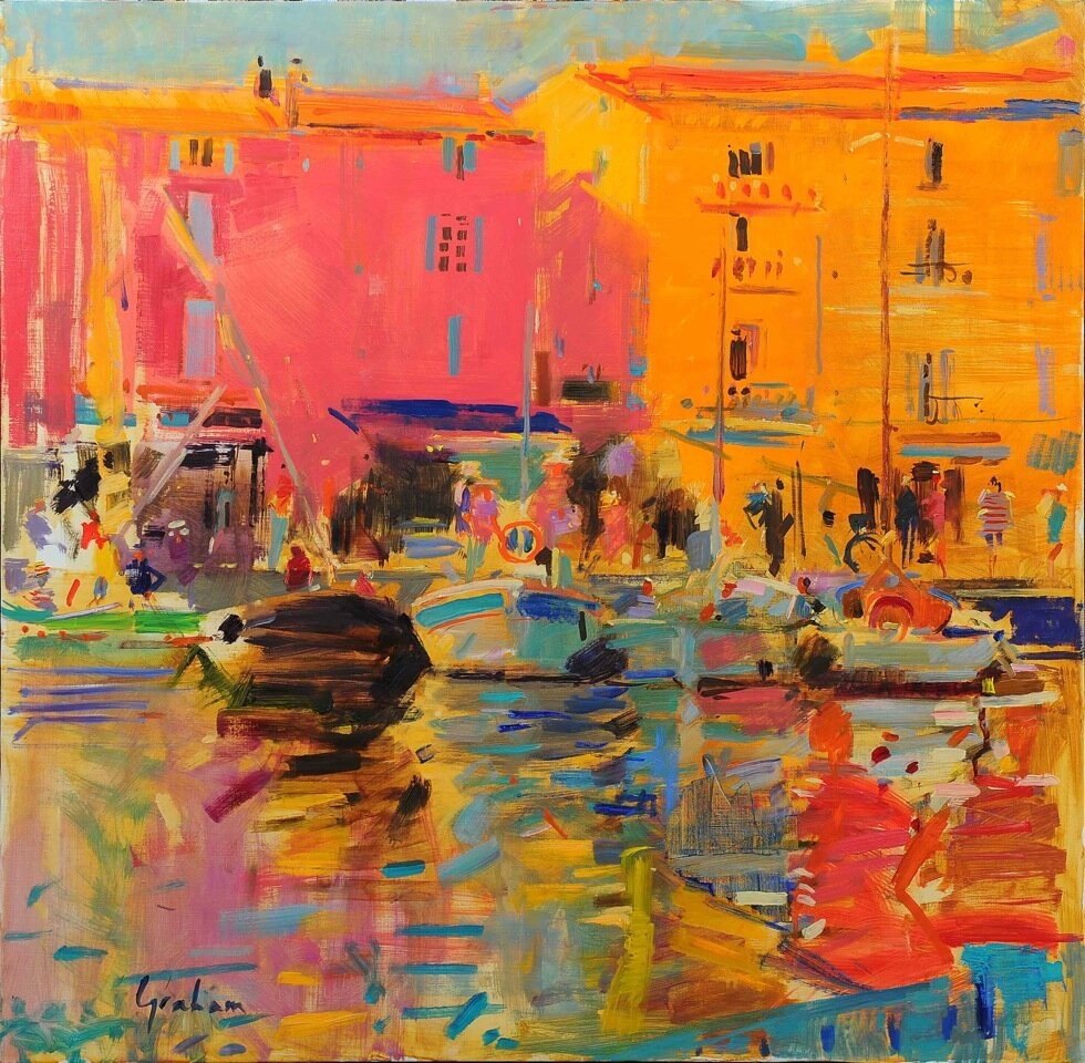 Voyage en Côte d'Azur   by Peter Graham R.O.I.   (86 x 86cm- oil on canvas)