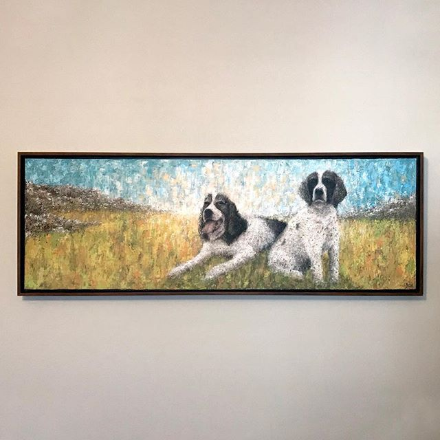 Had to keep this under wraps for the last couple months, as it was a surprise gift to my dearest friends/family, in dedication to their wonderful dogs that I've had the privilege of growing up with, and in particular to the late Davey (left) who passed away recently.  Had fun challenging myself to use the palette knife, in which I've never used before, and wanted to convey a bright, expressionistic painting of these two dogs, and capture their individual personalities.