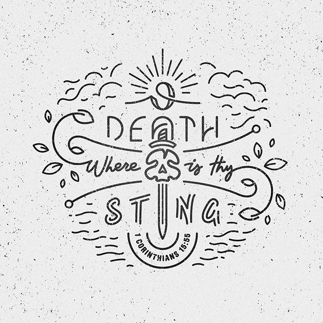 """""""O death, where is thy sting?"""" - 1 Corinthians 15:55  Been slowly working on this fun personal project over the last few weeks in my spare time. It's taken a while to get it where I want it, which is why stepping away from designs and letting it sit gives room for fresh ideas when you're frustrated with a design.  You can swipe for a few progress pics of different options and ideas I played around with. Started out simple, and then grew into the final design as the weeks passed."""