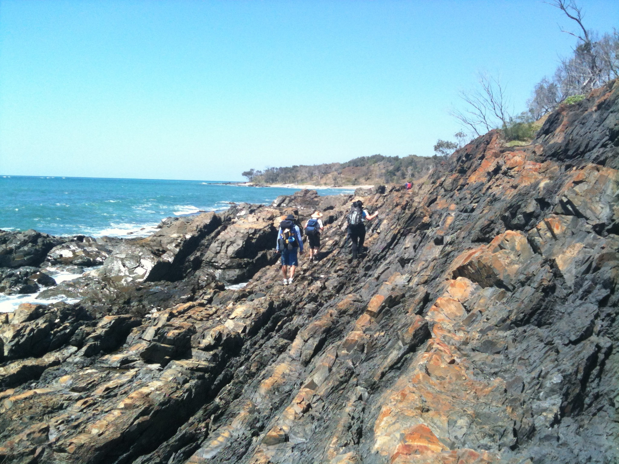 Rock hopping near Wooli. This is only done at low tide.