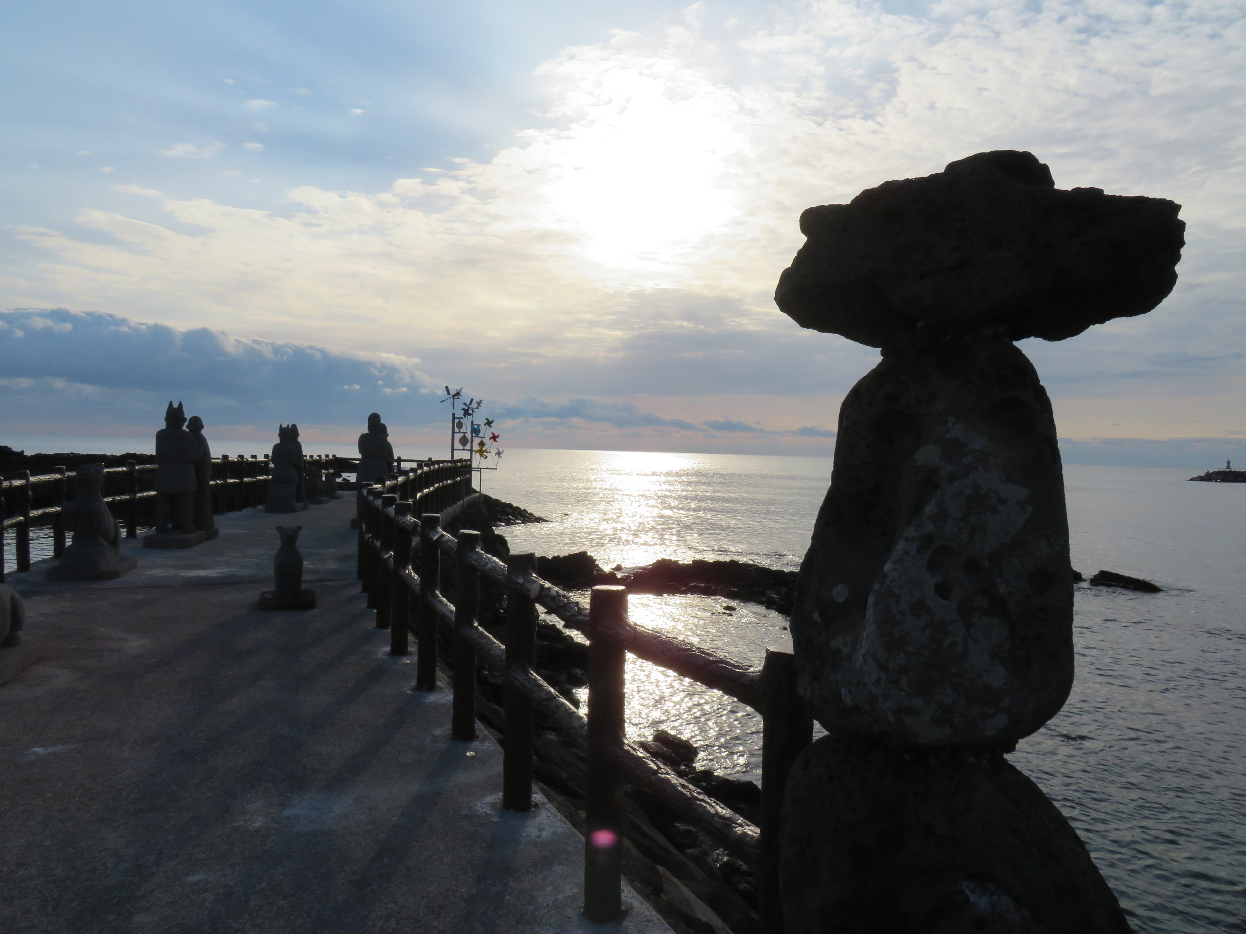 Sculptures by the sea at Onpyeong