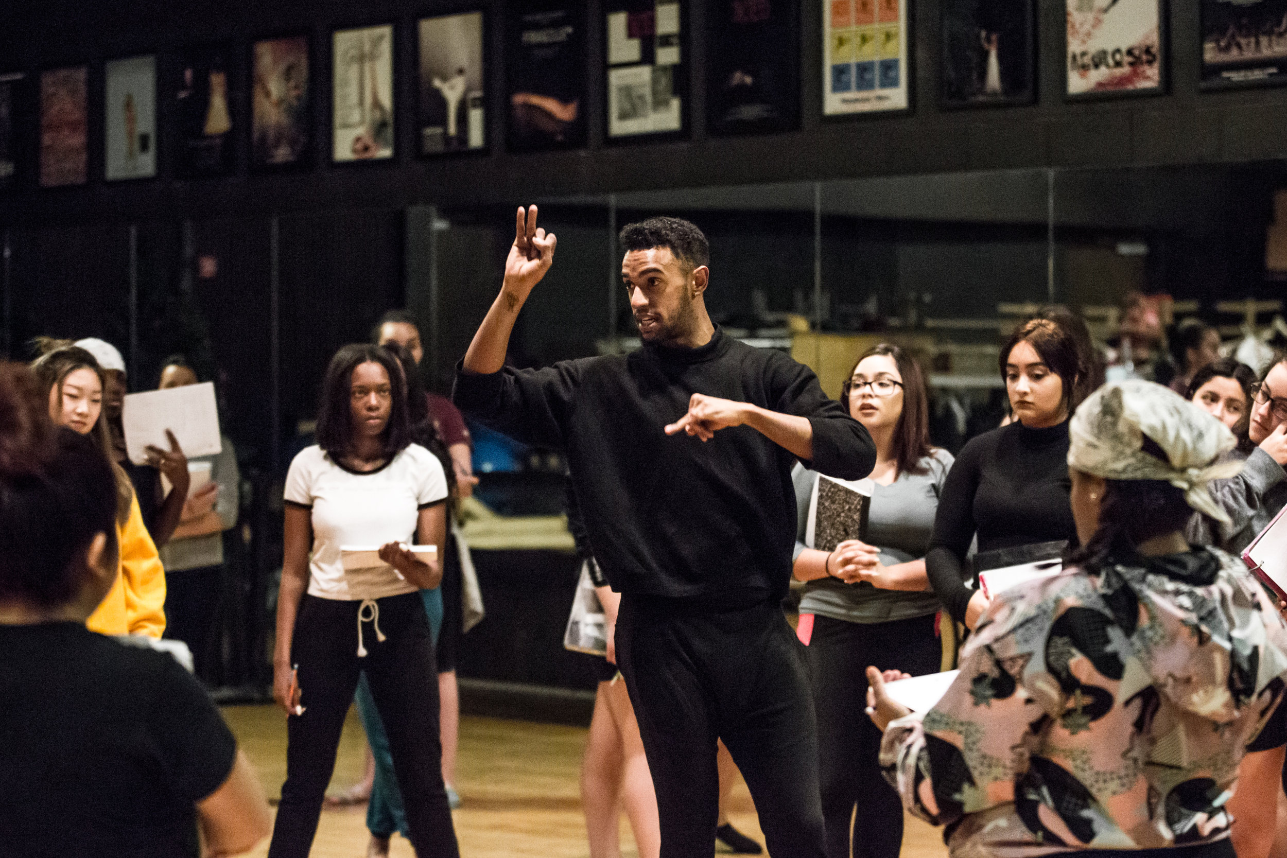 Jonathan Gonzalez (COCo. Dance Theatre) leads a workshop at Curie Metropolitan High School, November 2017, photos by Philip Dembinski