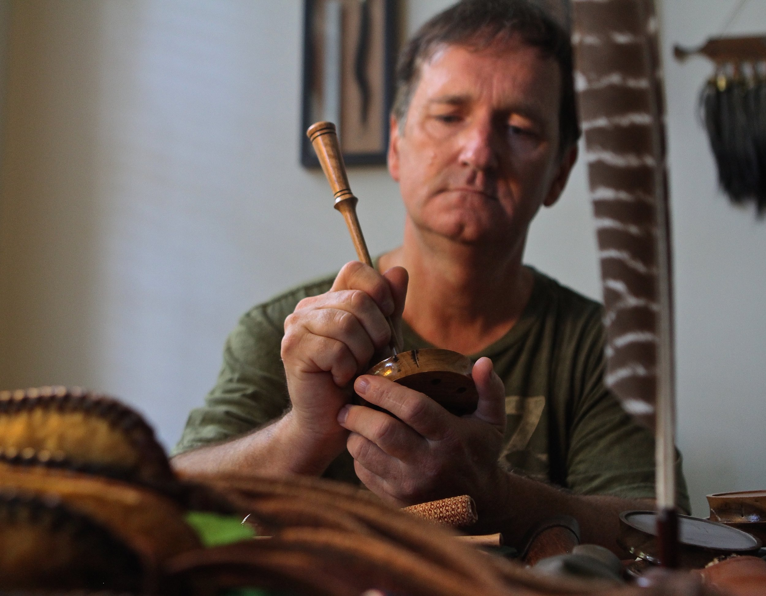 Mike demonstrating one of his turkey calls.