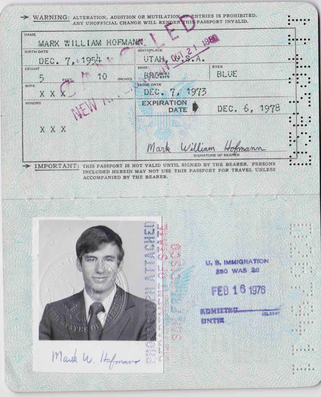 Mark Hofmann's passport