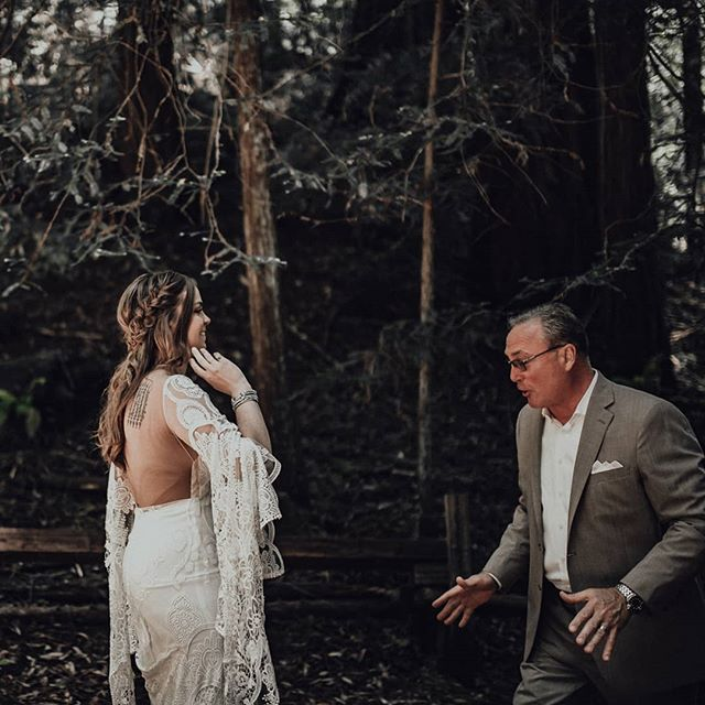 Dad's first look 🖤  #redwoodwedding #firstlook #armstrongredwoods #junebugweddings #lookslikefilm #tahoeunveiled #tahoeweddings #greenweddingshoes #laketahoephotographer #destinationphotographer #calvinhobsonphotography