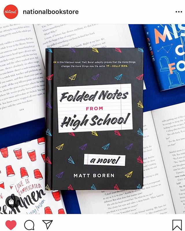 Thanks for all your support @nationalbookstore - really love that you love the book! . . . #supercouple #comedy #prom #massachusetts #boston #penguin #foldednotesfromhighschool #ya #authorsofinstagram #clinicalnostalgia