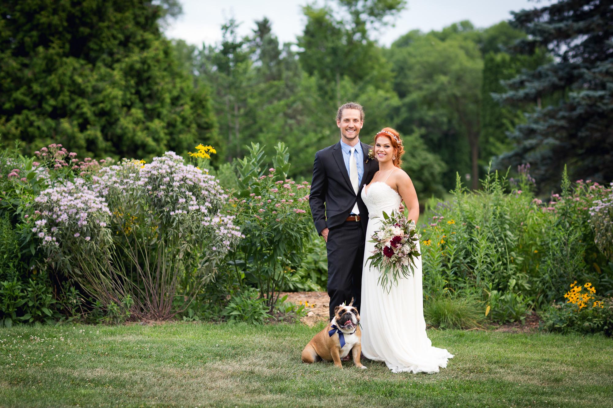 Wedding Couple with English Bulldog as a Ringbearer by San Diego Wedding Photographer