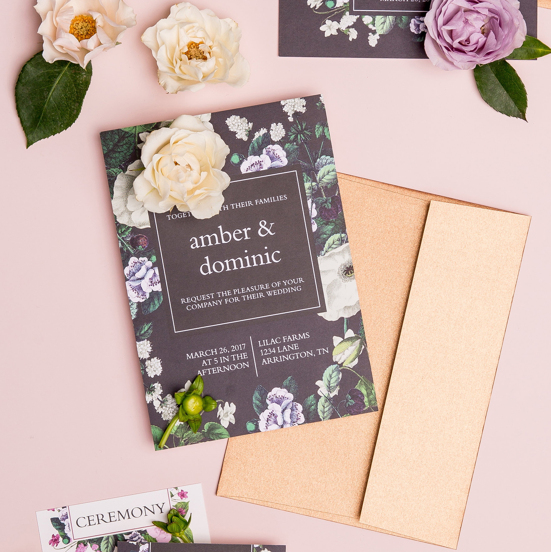 Vintage Botanical Basic Invite