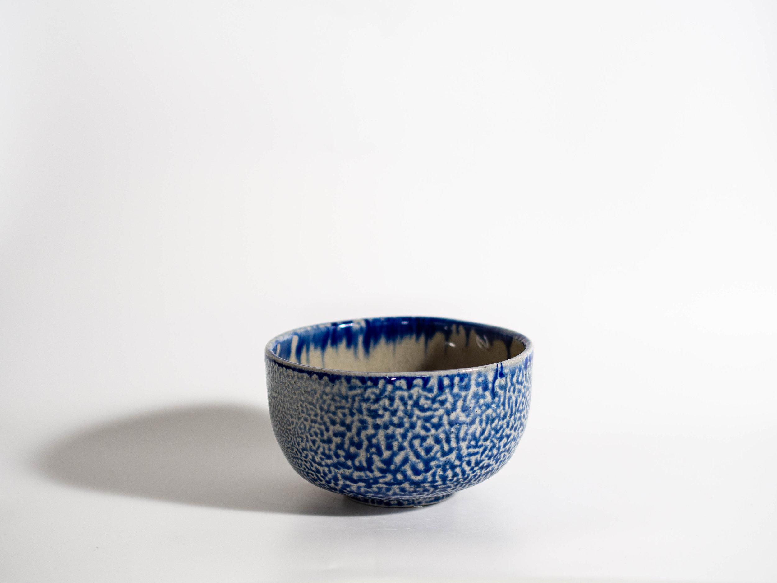 Blue soda fired bowl