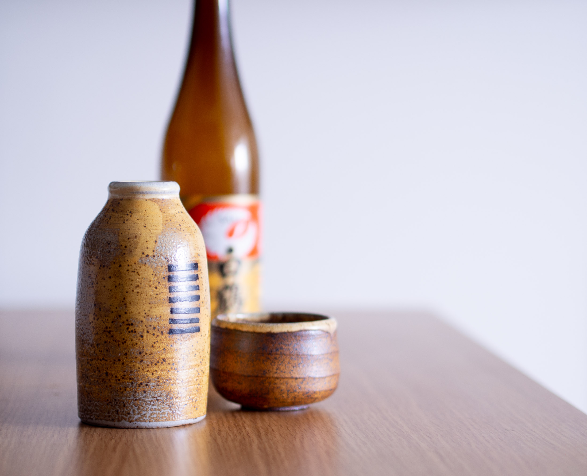 Soda-fired bottle and cup